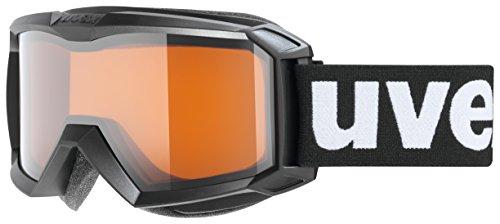 uvex flizz LG, Maschera da Sci Unisex-Adulto, Black Mat/lasergold-Clear, one size