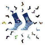 Sesto Senso Calcetines Divertidos Algodón Mujer Hombre Locos Coloridos Funny Socks Luna Astronave Space 43-46 Cosmos