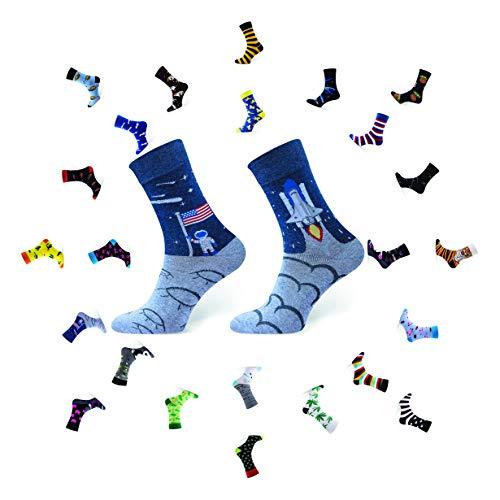 Sesto Senso Lustige Baumwolle Socken Damen Herren 1-3 Paare Bunte Ungleiche Funny Socks Kosmos Mond 38-41 Space