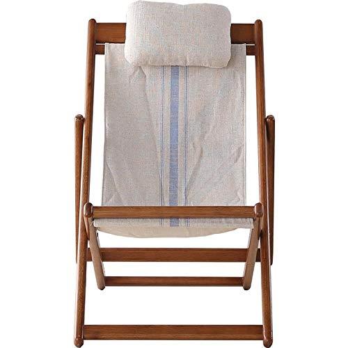 XITER Hölzerner Klappstuhl aus weißem Eichenholz Hartholz 5 Positionen Verstellbares Gartensofa Sessel mit Canvas Baumwollleinen Kissen Sonnenliege Stuhl Patio Chair Deck Chair mit Kissen