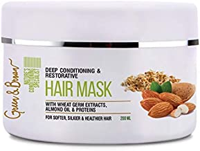Green & Brown 3 In1herbal Hair Mask, Deep Conditioning and Natural Restoration With Almond Oil, Wheatgerm Extracts and Hydrolyzed Proteins, White, 200 ml