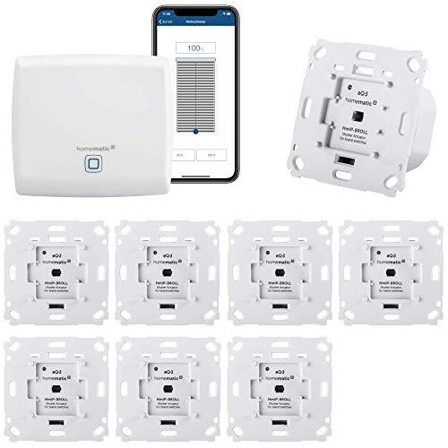 Homematic IP Rolladensteuerung für 8 Rolladen. Smart Home Set mit App zur Automatisierung der Rollläden. Ideal zur Nachrüstung. Alexa kompatibel. Inhalt: Zentrale, 8 Funk Rollladenaktoren, Adapter.