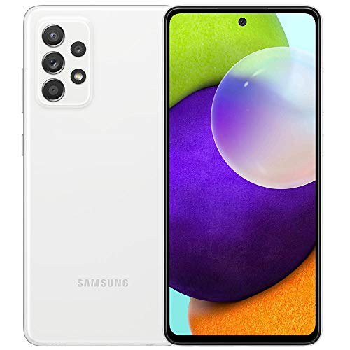"""Samsung Galaxy A52 (128GB, 6GB) 6.5"""" Super AMOLED 90Hz Display, 64MP Quad Camera, All Day Battery, Dual SIM GSM Unlocked (US + Global) 4G Volte A525M/DS (Fast Car Charger Bundle, Awesome White)"""