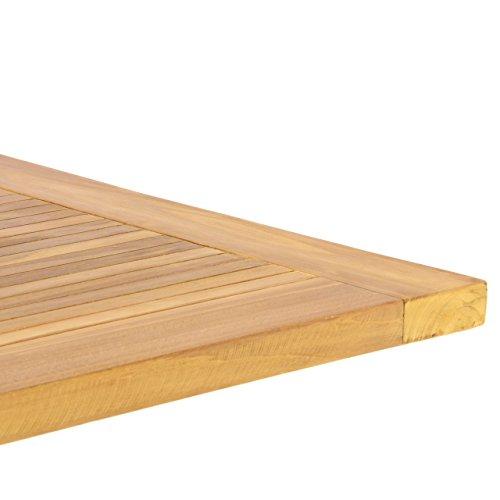 Nexos DIVERO GL05527 Klapptisch Balkontisch Gartentisch Esstisch Holz Teak Tisch für Terrasse Balkon Wintergarten witterungsbeständig behandelt massiv klappbar 130x65 cm natur