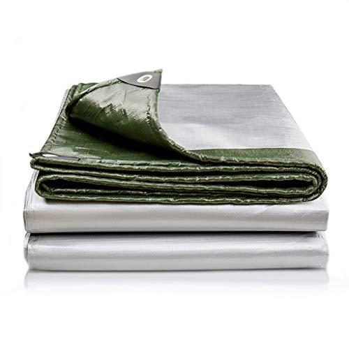 Paño de Lluvia de Lona Impermeable, Polietileno Tejido de Alta Densidad 180 g /, Grosor 0.35mm, Tono Impermeable de la Carga del almacén de Camiones multifuncionales (Color: Plata + Verde)