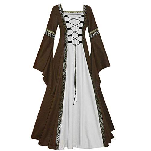 PPangUDing Mittelalter Kleid Damen Retro Gothic Steampunk Trompetenärmel Gericht Stil Prinzessinkleid Abendkleider Viktorianischen Prinzessin Renaissance Rockabilly Mit Schnürung Cosplay Kostüm