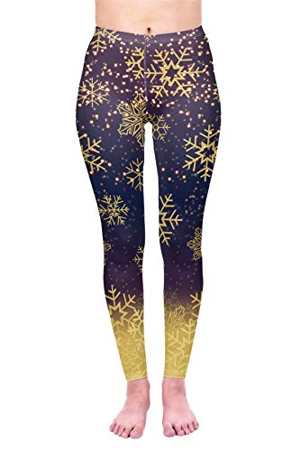 kukubird Christmas Winter Snowflake Santa Reindeer Stocking-Filler Women's Yoga Leggings Gym Fitness Running Pilates Stretchable - Golden Snowflakes