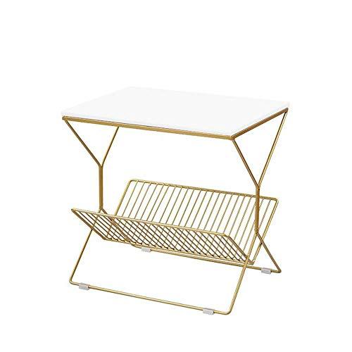 Couchtisch, Tische Quadratischer Seitentisch / Endtisch / Nachttisch, mit Metallaufbewahrungskorb, MDF / Marmor-Tischplatte, 19.68 × 14,17 × 19.68 Inlwh Couchtisch Farbe: MDF Black, Größe: 19.6814.171