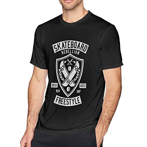 ADKASD Hemden T-Shirt Men Print Skateboard Rebellion Logo Shirt Black