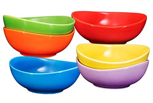 Bruntmor Ceramic Dessert Bowls Set – 18 Oz Durable Ceramic Bowls set of 6 for Rice Icecream Salad and Cereal Multi Color