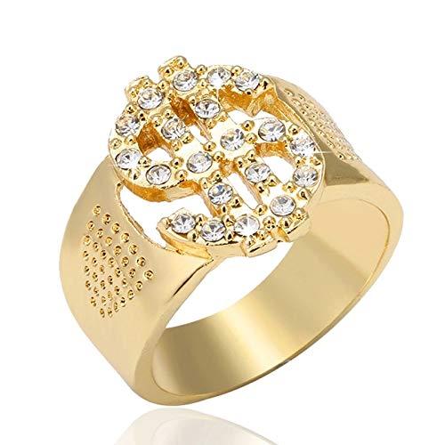 Qazwsxedc Für Sie HYF Felsen Bling Gold US Dollar-Zeichen-Signets Ringe for Männer Schmuck, Ring-Größe: 13 (Gold) (Farbe : Gold)