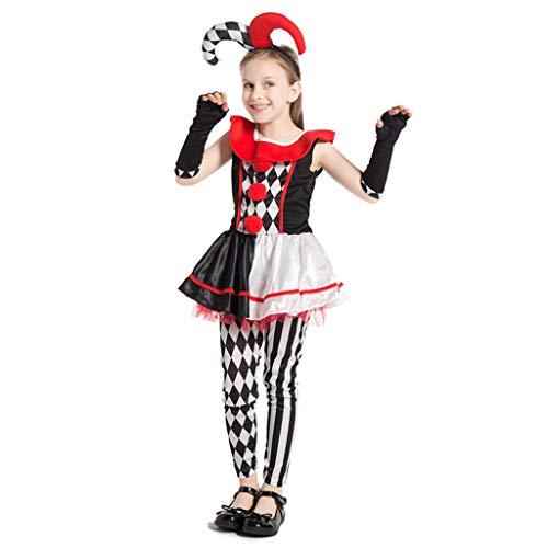 u s toy kids halloween costumes ReneeCho Girl's Jester Clown Costume Halloween Kids Circus Scary Villain Tutu Dress Tight
