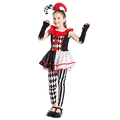 EraSpooky Spassmacher Kasper Clown Kostüm Faschingskostüme Cosplay Halloween Party Karneval Fastnacht Kleid