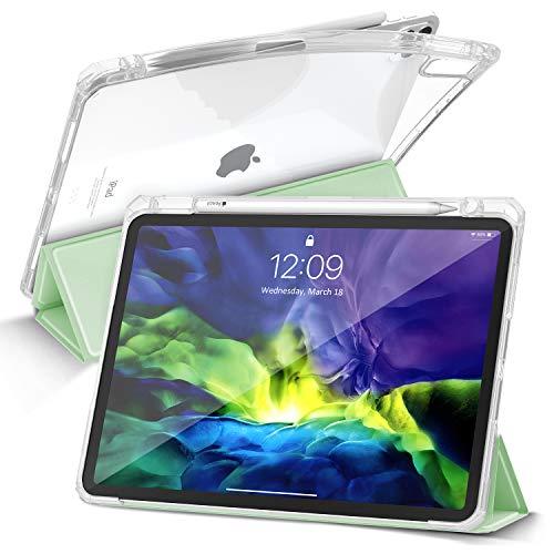 Gahwa Cover Compatibile con iPad Pro 11   2020 e 2018, Custodia con Pencil Holder, Smart Case in Ultra Sottile Pieghevole, Cover con Retro Trasparente e Auto Svegliati Sonno - Verde