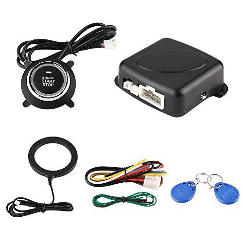 Yctze 12V Sistema de alarma universal para coche Botón de arranque del motor Kit de arranque/parada de vehículos Juego de modificación de coche antirrobo de bloqueo seguro