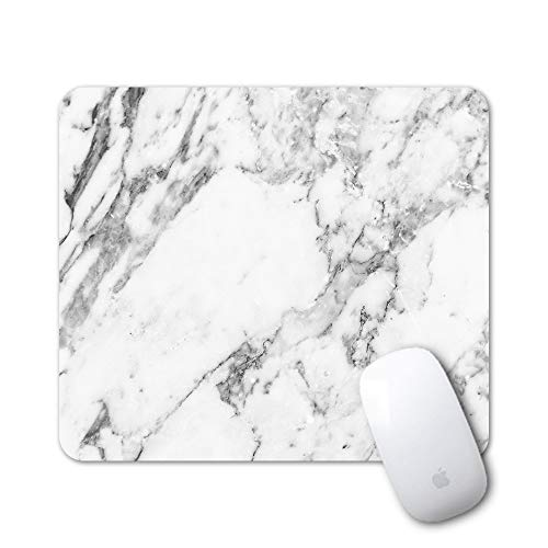 iLeadon Gaming Mouse Pad Customized Rectangle Non-Slip Rubber Mousepad with Mini Cute Funny Art Design for Mac, PC, Computers. Ideal Partner for Working Or Game, White Marble