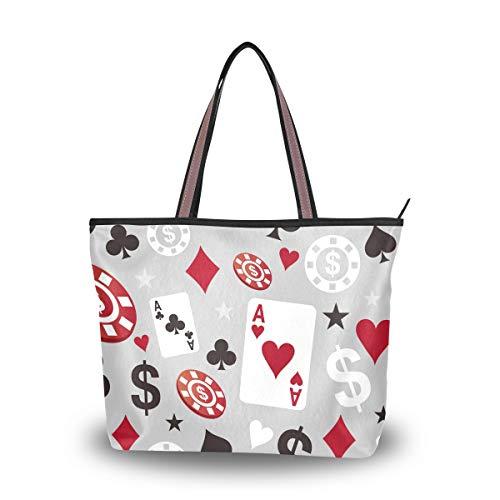 offene süße Tasche Einkaufstasche mit Taschen für Frauen Großes Kartenspiel Poker L Durable Canvas Handtasche