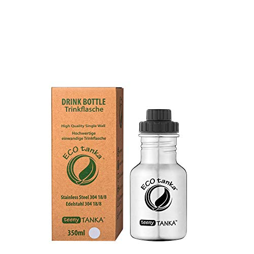 ECOtanka teenyTANKA 350ml Edelstahl Trinkflasche BPA frei inkl. Ersatzdichtungs-Service - auslaufsicher, einfache Reinigung, kohlensäuregeeignet, langlebig