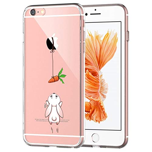 Caler® Coque Compatible/Remplacement pour iPhone 6/6S,transparente Ultra Mince Silicone Souple Anti Choc TPU de Protection Housse Étui Panda Lapin Carotte Motif(Carotte lapin)