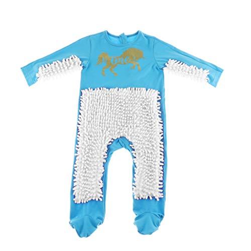 MagiDeal Baby Kleidung Wischmop Strampler Overall Mädchen Jungen Jumpsuit Babykleidung zum Krabbeln, Farben auswählbar - Himmelblau + Weiß, 80cm