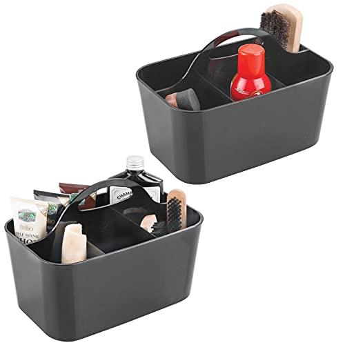 mDesign 2er-Set Schuhputzkasten – Schuhputzkiste mit 4 Fächern – tolle Aufbewahrungsbox aus robustem Kunststoff – mit Griff zum Transportieren – schwarz