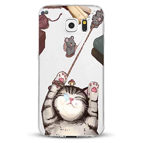 Caler - Carcasa compatible para Samsung Galaxy S7 / S7 Edge, transparente, ultrafina, antigolpes, protección flexible, silicona TPU (gato, Samsung Galaxy S7)
