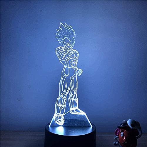 3D Illusion Lamp Luz Luz de noche Luz Anime Dragon Ball Z Vegeta Majestic 7 Colores Tacto Lámpara de Mesa óptica Modelo Modelo Mejor Cumpleaños