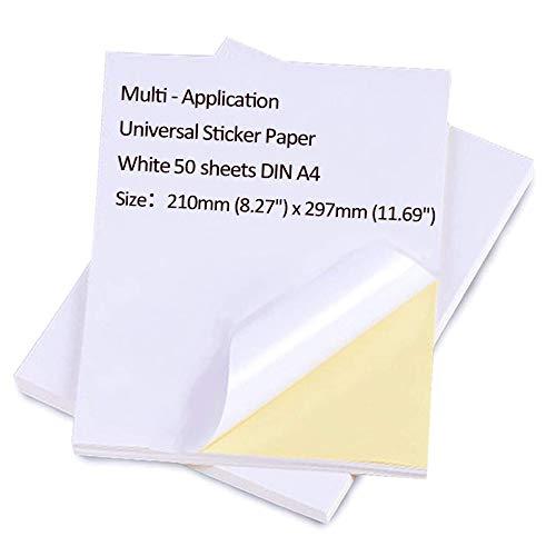 50 hojas Impresora Papel A4 Etiquetas universales Autoadhesivas Hojas Etiqueta blanca Papel Etiqueta Impresora Imprimible para impresoras láser y de inyección de tinta Impresora de dirección Pegatinas