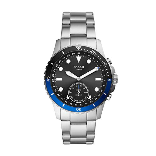 Fossil Men's FB-01 Stainless Steel Hybrid Smartwatch, Color: Silver/Black & Blue Dial (Model: FTW1199)