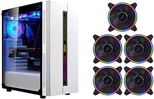 Wyl PC Gaming? Uso, Mid-Tower ATX/M-ATX/ITX PC Caja de computadora, Transparente Completo en el Lado Izquierdo, USB 3.0, con 5 Colorido, para computadora de computadora de Escritorio