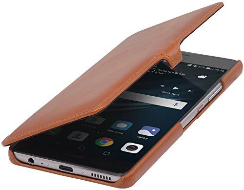 StilGut Book Type Hülle mit Clip, Hülle Leder-Tasche für Huawei P9 Plus. Seitlich klappbares Flip-Hülle aus Echtleder für das Original Huawei P9 Plus, Cognac