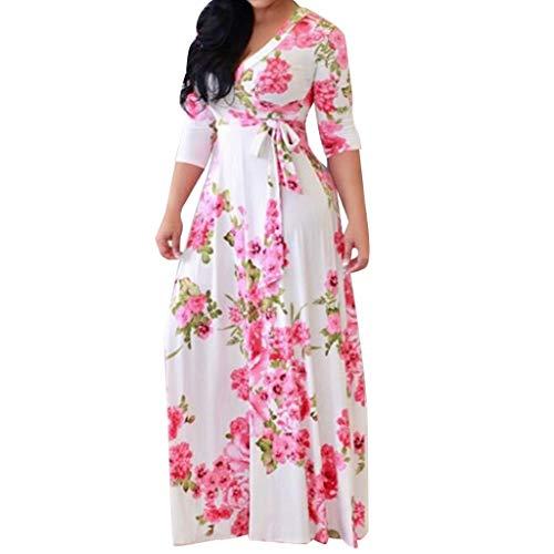 Bandage Split Loose Dress Fashion Women Plus Size Print V-Neck Long Sleeve Dress White