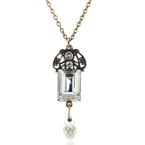 nobel-schmuck Jugendstil Kette mit Kristallen von Swarovski® Gold