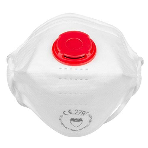 FFP3 Atemschutzmaske Gesichtsmasken Mit Exhalation Ventil - En 149: 2001 Und A1 : 2009 Nachgiebig,Kann Gefaltet,Weiß 4 Punkt Kopfband Gepolstert Futter für Zusätzlichen Komfort Sicherheit (Packung 5)