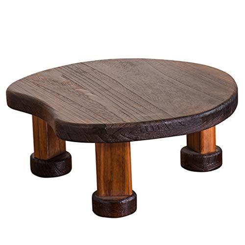 Beistelltische Neue Chinesische Paulownia Erker Fenstertisch Kleiner Runder Tisch Tatami Haushalt Kleiner Couchtisch Teetisch Niedriger Tisch (Color : Brown, Size : 50 * 21cm)