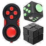 Finger Cube Infinity Cube Fidget Pad giocattoli antistress e ansia, set di 3 pezzi Fidget Controller Ridget Stress Reducer, cubo di decompressione con dito sensoriale (colore casuale)