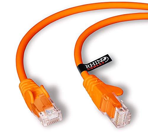 rhinocables Cable de Red Ethernet LAN Cat.5e RJ45 - Cable de conexión a Red - UTP - Compatible con Conmutador, Router, módem, Punto de Acceso, para PC, TV Box, Nintendo Switch, Router, Xbox, PS4, Servidor Nas (0,50m Naranja)