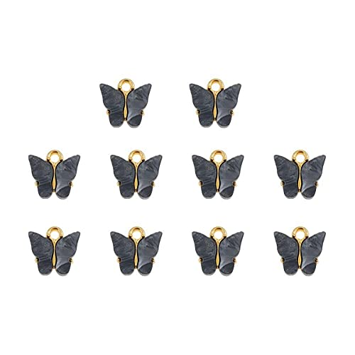 YSTSPYH Accesorios de Pulsera 4-10 Piezas Multicolores Colgante de Mariposa acrílico Juego de Encanto para la fabricación de Pendientes de joyería de Bricolaje Accesorios Hechos a Mano Pulseras