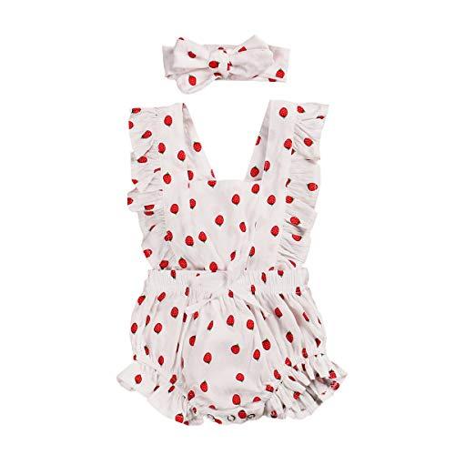 Carolilly Conjunto de 2 piezas de pelele de bebé para niña, de algodón Rosa B 0-6 Meses
