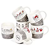 Bruntmor Set of 6 Christmas Cats Ceramic Coffee Mugs holiday-inspired mugs Christmas cat lovers gifts, 12 Oz