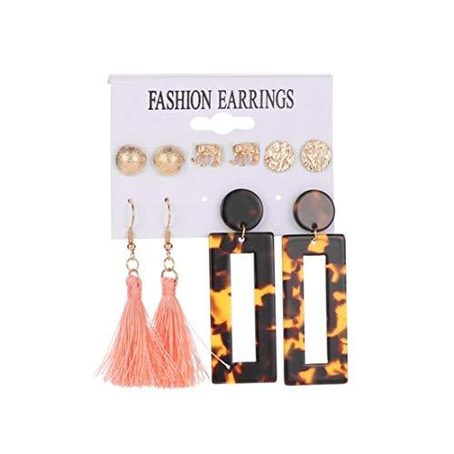 LGJJJ 5 Paare/Satz Verschiedene Mehrere Ohrringe Set für Frauen und Mädchen Leopard Quaste Hoop Ohrring Elefant Ohrstecker Geschenk