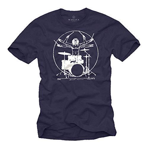 MAKAYA Herren T-Shirt Schlagzeug - Da Vinci Drummer - Blau Geschenke für Schlagzeuger/Musiker Männer Größe L