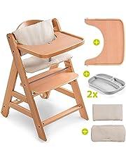 Hauck Seggiolone Set Alpha Plus Move incl. vassoio, cuscino seduta e 2 piatti in silicone - Seggiolone Evolutivo Legno/Seggiolone Pappa Legno con ruote, cintura e vassoio - beige legno