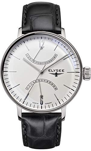 Elysee Sithon Herrenuhr in verschiedenen Farbkombinationen mit Leder- oder Milanaise Armband Datumanzeige (schwarz/Silber/weiß) (schwarz)