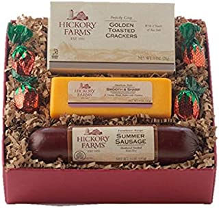 Hickory Farms Holiday Gift Set-Farmhouse Hickory Favorites Summer Sausage, Golden Toasted Crackers, and Smooth and Sharp C...