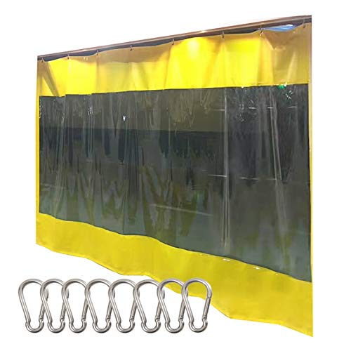 LSXIAO Heavy Duty Tarp, Transparent Vinyl Curtain, 0.6mm Thick Splicing Style Waterproof Windproof with Stainless Steel Hook for Porch, Terrace, Workshop (Color : Yellow, Size : 1.5x2.5m)