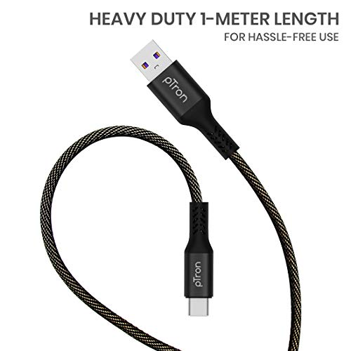 pTron Solero 3.1A (15W) Type-C Data & Fast Charging Cable, 480Mbps Data Sync, Strong & Durable 1-Meter Long USB Cable for Type-C Devices - (Black)