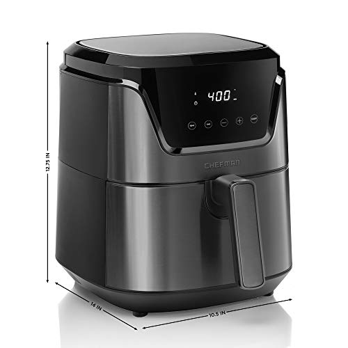 Chefman 4.5 Quart Air Fryer with Presets & Adjustable Temperature, Nonstick Stainless Steel & Cool-Touch, Dishwasher Safe Basket, BPA-Free w/ 60 Minute Timer, Healthy Rapid-Air Frying, Black