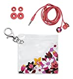 Vera Bradley Cute Earbuds with Silicone Tips and Travel Storage Pouch, Customizable Fit, Rosa Floral