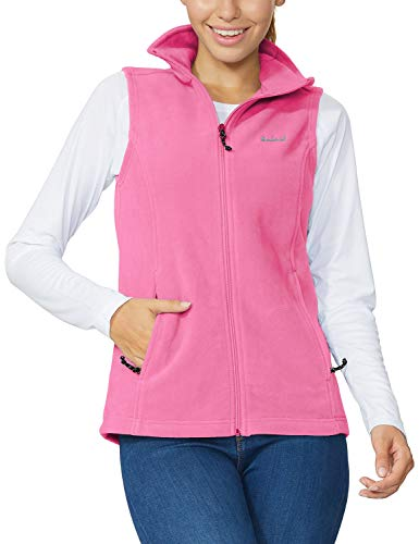 BALEAF Women's Full Zip Fleece Vest Sleeveless Jacket Zipper Pockets Pink L